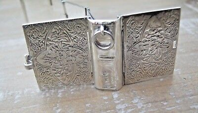 Novelty English Hallmarked Sterling Silver Stamp Case Photo Book Chatelaine