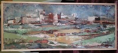 Don Louthian signed (1929-?) large original abstract landscape oil painting RARE