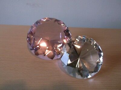 2 Diamond Shaped Cut Glass Paperweights/Ornaments (1 Lge Pink & 1 Smaller Clear)