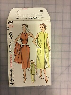 Simplicity  printed pattern 8403 Vintage Misses' One Piece Dress and Coat