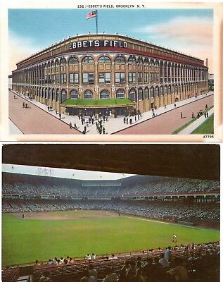 (2) Brooklyn Dodgers Ebbets Field Baseball Stadium Linen & Chrome Postcards