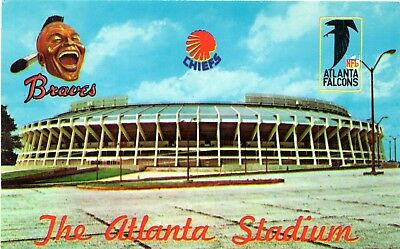 "Scarce ""Chiefs logo added"" Atlanta Braves Fulton County Stadium Postcard"