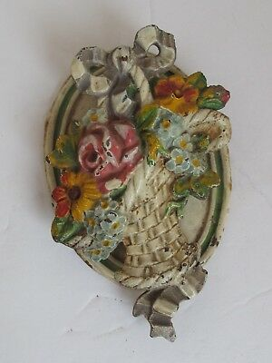 Antique Cast Iron Hubley Flower Basket Door Knocker