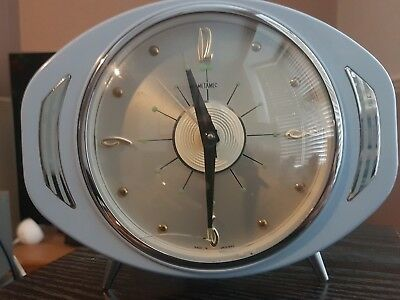 Metamec atomic eye type alarm clock vintage retro, baby blue,  Very rare, SPARES