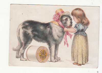 J & P Coats Six Cord thread B & W Dog in a Hat Vict Card c1880s