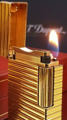 ST DuPont Lighter Gold Line 1 Large Box Papers Warranty Function Perfect Con H20