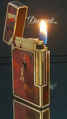 ST DuPont Lighter Line 2 Chinese Lacquer Warranty Functional Perfect Conditi H03