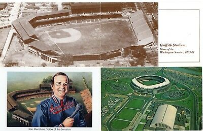 (3) Washington Senators Griffith Stadium & RFK Stadium Postcards