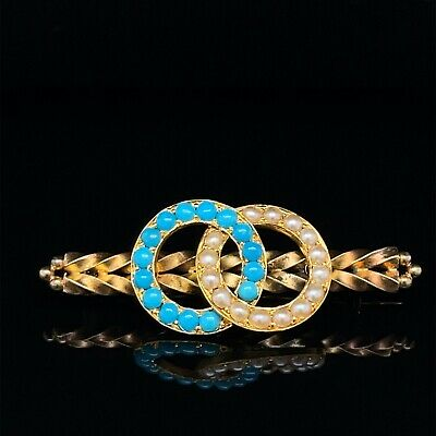 18ct Yellow Gold Art Deco  Turquoise And Pearl Brooch