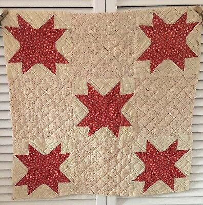 Antique Vintage Old Hand Pieced Quilted Pink Red Star Quilt Cutter Piece #1