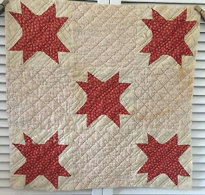 Antique Vintage Old Hand Pieced Quilted Pink Red Star Quilt Cutter Piece #4
