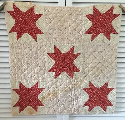 Antique Vintage Old Hand Pieced Quilted Pink Red Star Quilt Cutter Piece #6