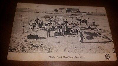 1909 Afton Oklahoma Making Prairie Hay Ccc Co Postcard