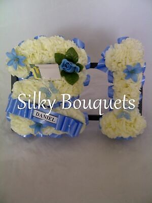 Artificial Silk Funeral Flower Two Number Letter Name Tribute Wreath Birthday