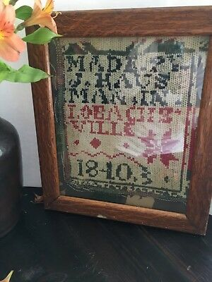 ANTIQUE  SAMPLER Alphabet/PIECE Jacquard, wool coverlet possibly