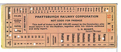 RR Conductor's Cash Fare Receipt: Prattsburgh Ry. Corp., Prattsburgh, NY - 1920
