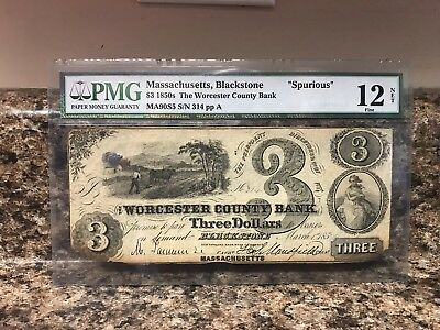 "1850's $3 US ""Blackstone, MASSACHUSETTS"" The Worcester County Bank PMG Currency"