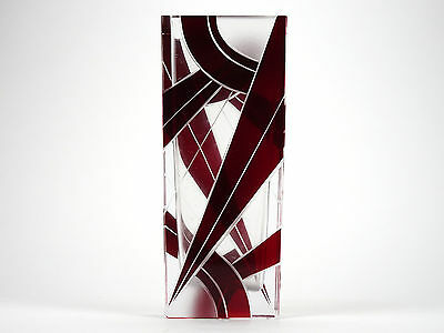 Art deco style vase, Karel Palda style, Cut Red Frosted glass, Geometric, Czech