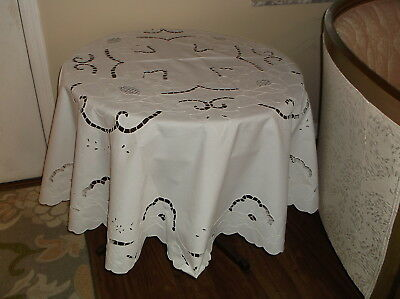 "Fabulous White Vintage Round Embroidered Tablecloth With Cutwork - 70"" Dia"