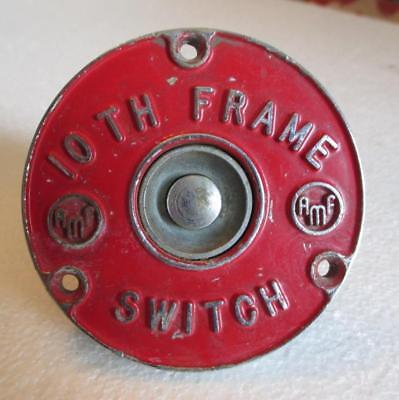 "AMF 10th Frame Switch Vintage Red Old Metal Something Bowling? 3"" Diameter Old"