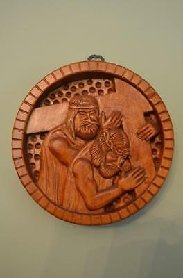 Beautiful Hand Carved Wood Stations of the Cross #5 SIMON HELPS CHRIST