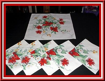 Rare Find In A Set Of 6 Wilendur Napkins With Red Trilliums & Other Flowers