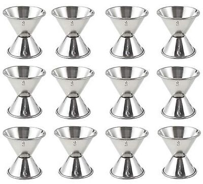 (Set of 12) Double Bar Jigger 1 1/2 oz and 3/4 oz, Steel Cocktail Jiggers