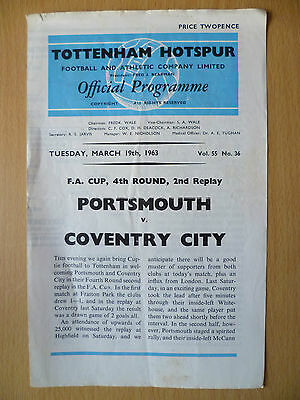 1962/63 FA CUP 2ND REPLAY PORTSMOUTH v COVENTRY CITY @Tottenham 19 MARCH