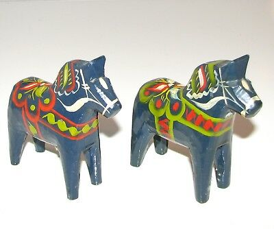 "Lot of 2 Vintage Akta Dalahemslojd Sweden Dala 4"" Horse Wood Swedish Blue RARE """