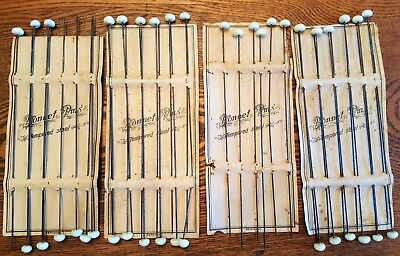 (4) Cards Of 39 Original Victorian White Bonnet Pins For Ladies Hats Millinery