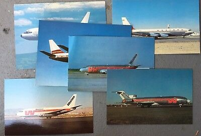 Western Airlines airliner postcards - Lot of 6 - Vintage 1960s-80s