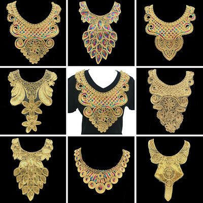 Gold Lace Embroidered Neckline Fake Neck Collar Trim Clothes Sewing Applique