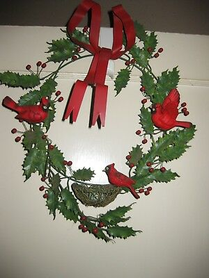 Vtg. Metal Christmas Wreath..Holly, Cardinals, Bird Nest w/Eggs
