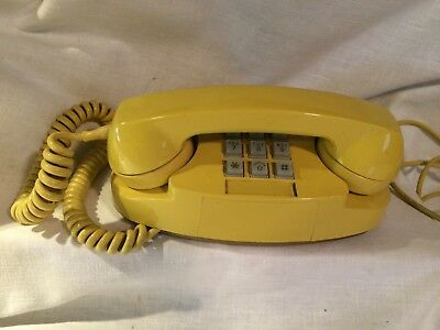Vintage Western Electric 2702B YELLOW Princess Touch Tone Telephone Phone