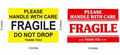 2 x 3 FRAGILE STICKER / DO NOT DROP YELLOW STICKERS THANK YOU HANDLE WITH CARE