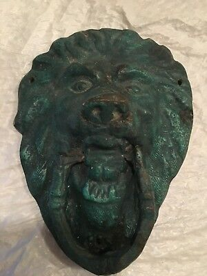 antique door knocker Lion head bronze cast patina