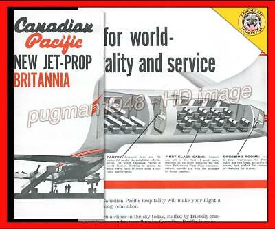 CANADIAN PACIFIC AIRLINES c1959 AIRLINE BROCHURE...New Bristol Britannia CUTAWAY