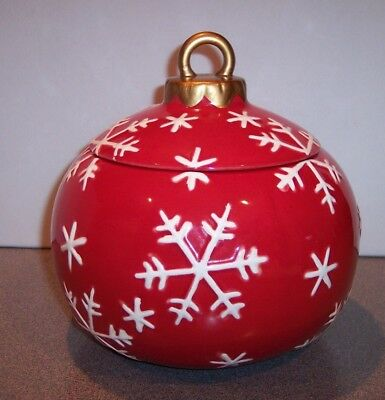 """""""HOLIDAY TIME"""" Christmas Ornament Cookie Jar RED & WHITE Holiday Snowflakes"""