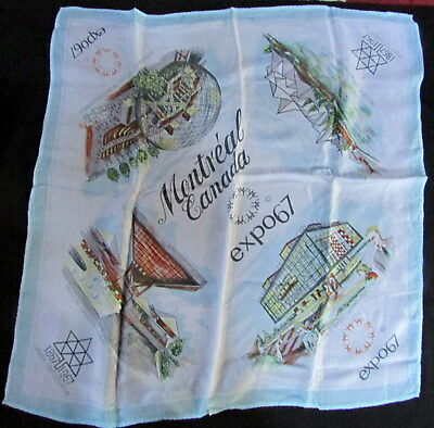 "1967 Montreal World's Fair Expo Souvenir  24"" Square Bandanna"