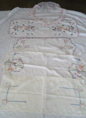 Lot of 5 vintage embroidered Dresser Scarf Table Runners -excellent condition