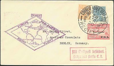 Graf Zeppelin 1930 First South American Flight from Brazil to USA and to Germany