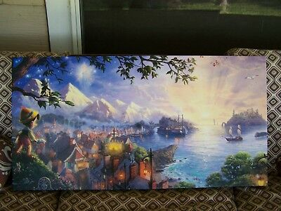 Thomas Kinkade Disney Dreams  Gallery Wrapped Canvas Pinocchio 16 x 31