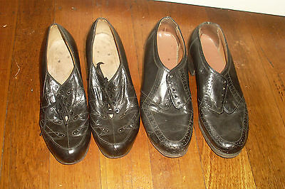 2 Pairs Of Small Shabby Vintage Retro Black Leather Lace-Up Ladies Shoes