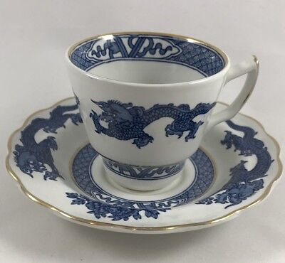 Vintage Booths Dragon Blue & White Cup & Saucer Made In England