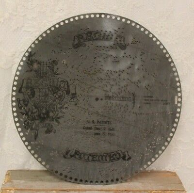 """Antique 15.5"""" Metal Music Box Disk #1097 Regina  Polonaise From The Opera"""