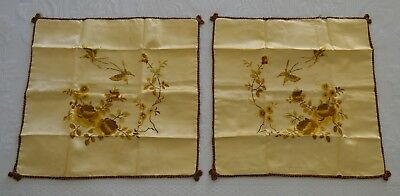 Vintage Gold Satin Tonal Embroidered Button Pillow Covers