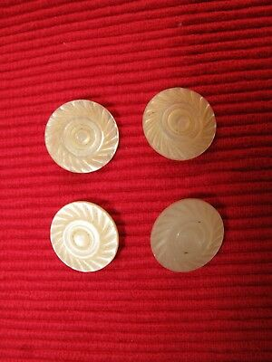 SET OF 4 Antique Victorian MOP Button Carved PINWHEEL FANCY Mother of Pearl 3/4