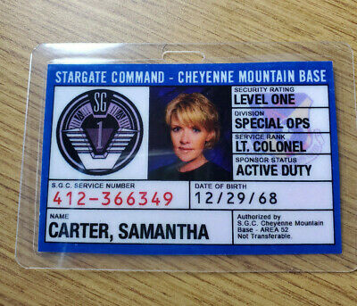 Stargate Command SG-1 ID Badge- Lt. Colonel Samantha Carter cosplay prop costume
