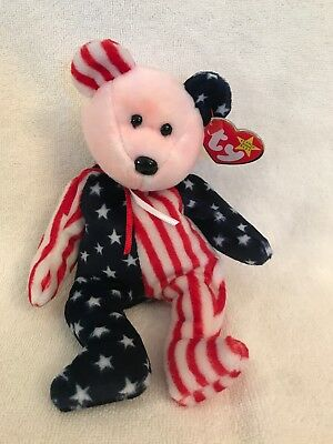 Ty Beanie Baby  Spangle Pink Head Bear -1999 Mwmt, Patriotic Red/white/blue