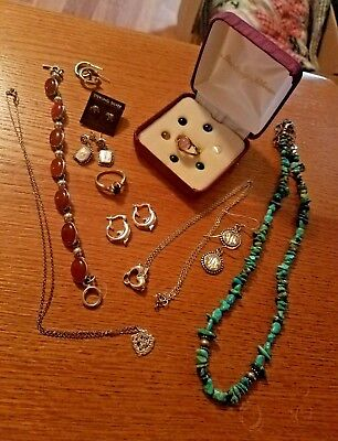 Sterling Silver Jewelry Lot 76.4 grams Gemstones Dolphins Turquoise No Reserve